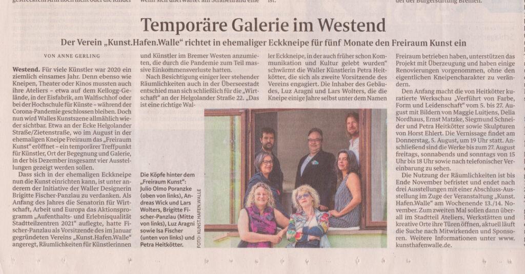 Artikel zum Freiraum.Kunst aus dem Weser Kurier vom 29. Juli 2021